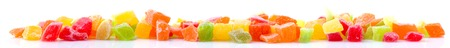 candied fruit group on white background close up