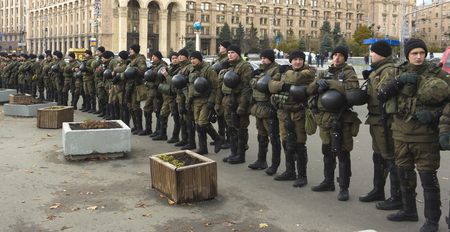 Kyiv, Ukraine - 9 September, 2017 National Guard soldiers guarding the order during the demonstration