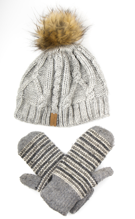 Clothes for a cold season: woolen cap, gloves