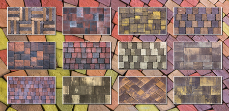 Collage sample of concrete paving slab for laying tracks.