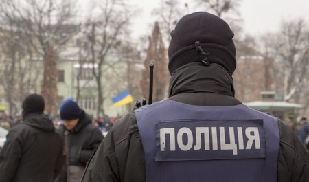Ukrainian police in armor. in the square 写真素材