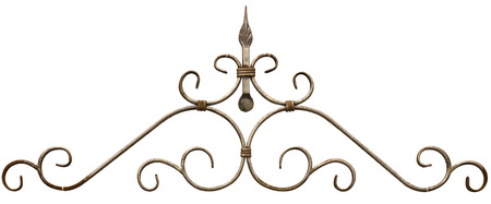 Old cast iron fence with spears isolated Banque d'images