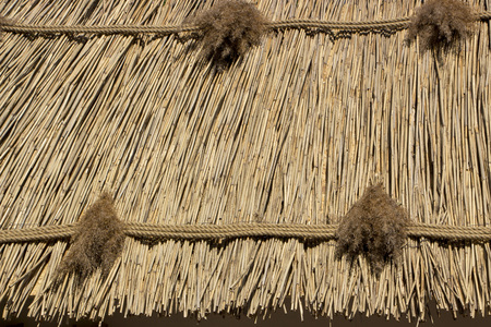 The roof of the line, the texture close up, the old Ukrainian tradition in architecture Stockfoto