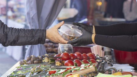 B-B-Q. vegetarian street food. Vegetables and fruits cooking on an open fire. Close up Stock Photo