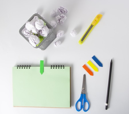 School and office supplies. Top view. on white background with copy space. Background