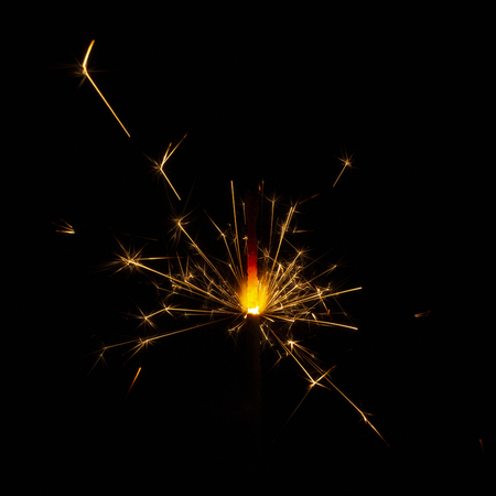 Christmas sparkler isolated on black background. Bengal fire close up 版權商用圖片 - 114106023