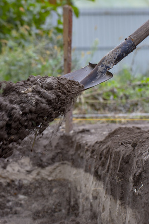 man digging a hole in the ground with shovel and spade close up
