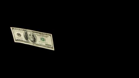 Flying dollars isolated on black background close up Standard-Bild - 118511110