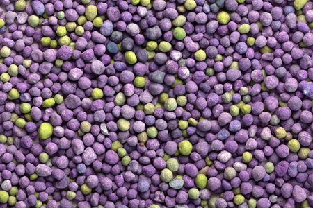 Purple mineral fertilizer, prolonged action with microelements, for application to the lawn in the spring. Professional fertilizer. Texture Standard-Bild - 122328911
