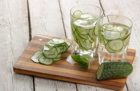 Cucumber water, cleansing water to detoxify the body and quench thirst on a white background. close-up