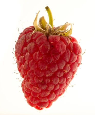 One ripe beautiful raspberry berry on a white background close up Stock fotó