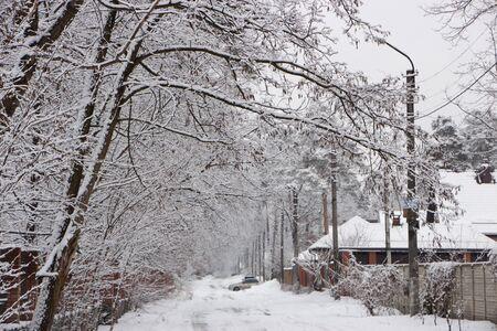 Schneebedeckte ländliche Straße, schöne Winterlandschaft, bei bewölktem Wetterhintergrund