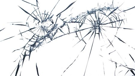 Cracked glass on a white background close up Stock fotó - 130041393