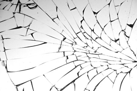 Cracked glass on a white background close up 写真素材 - 130697165