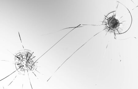 Cracked glass on a white background close up 写真素材 - 130697227