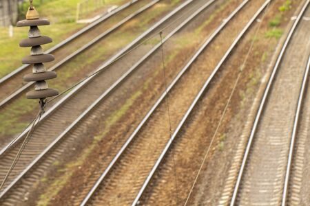 Several rail tracks going to the horizon, top view close up Stock Photo