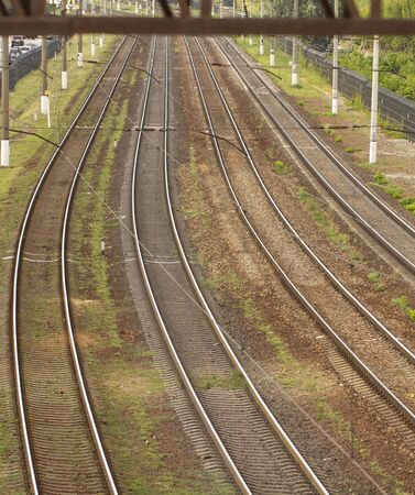 Several rail tracks going to the horizon, top view close up 写真素材