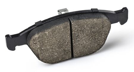 One brake pad for disc brakes of a car on a white background. Spare parts for car maintenance, brake system consumables. Stock fotó