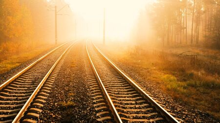 The railway runs through the autumn forest. The rays of the morning sun cut through the fog.