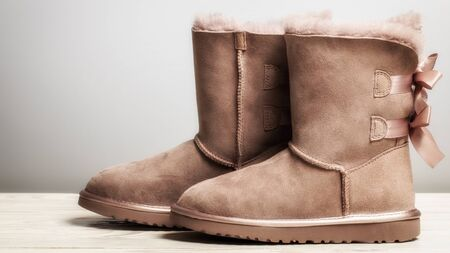 Winter brown felt boots with leather, with bows on a freebie on a white background.