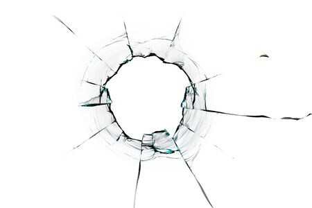 glass crack hole from a ball on a white background