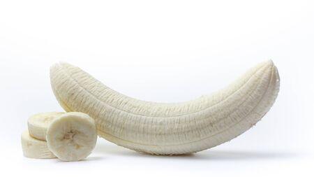 Peeled and sliced banana on a white background 版權商用圖片