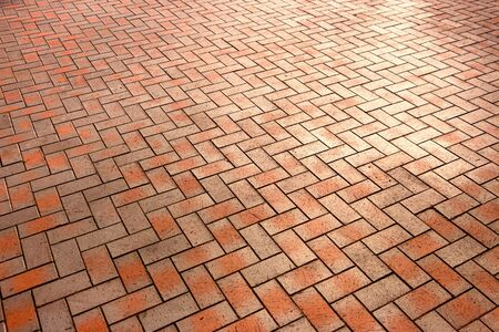 Red, luxury, antique rectangular ceramic clinker tile for patio or sidewalk