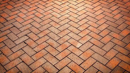 Red, luxury, antique rectangular ceramic clinker tile for patio or sidewalk Standard-Bild