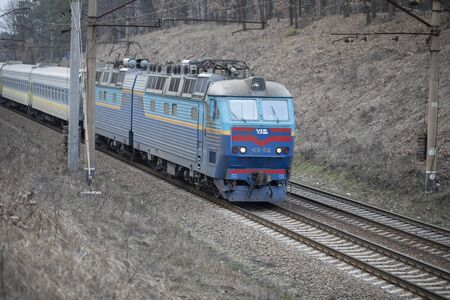 The old rusty train of the Soviet Union is still being used for suburban communications.