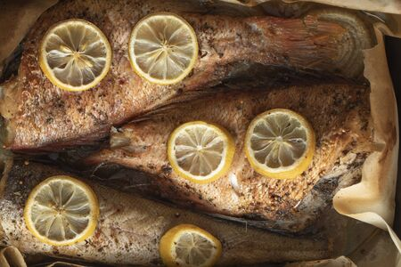 Baked fish in a baking dish close up Stockfoto