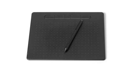 Electronic graphics tablet for design and drawing on a white background.