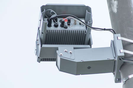 Traffic violation camera with radar for traffic speed control. Close up