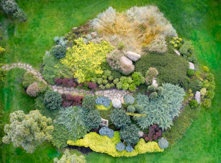 Large flower bed with various ornamental plants, top view.