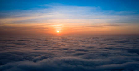 Panorama of the sky, aerial view, dawn or sunset, blue hour.