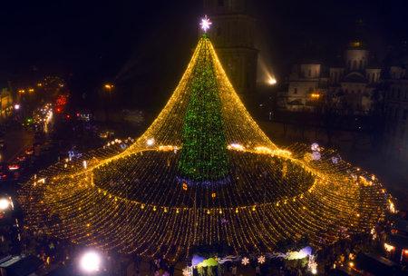 Christmas tree. The main Christmas tree of Ukraine on Sofiyivska Square. View from the drone