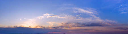 Panorama of the evening or morning sky. Sunrise or sunset.