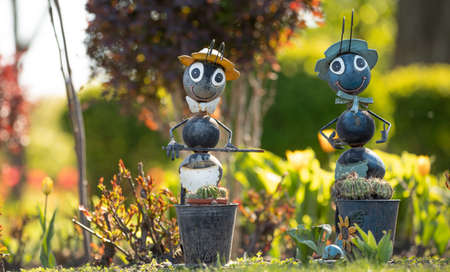 Ants, garden toys. Large metal toy insects, for decorating a flower bed or backyard.