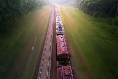 A freight train loaded with resources delivers cargo through the forest. Wonderful summer landscape. Blurred pine trees at dawn from spoiling rail.