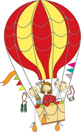 Children flying on a colored balloon