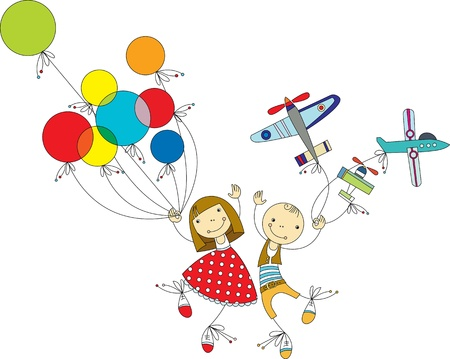 happy kids playing: girl with colored balloons and the boy with the aircraft