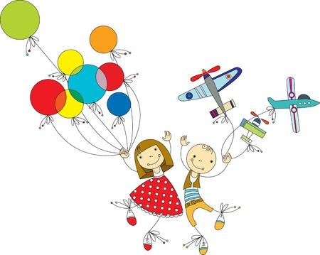 ilustraciones niños: niña con globos de colores y el niño con el avión