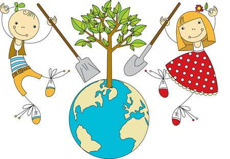 boy and girl planting trees on Earth Vector
