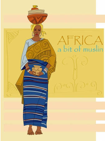 African woman in ethnic clothes Vector