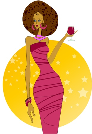 happy african woman: dark-skinned girl at a party with a glass of wine