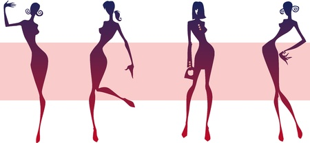 Four silhouettes of girls on a pink background Ilustração