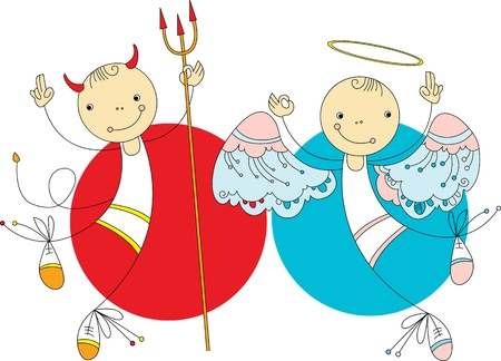 Two cheerful character in the form of angels and demons Vector