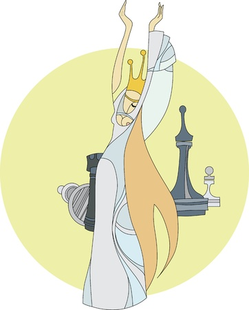 Chess Queen stands in a white dress