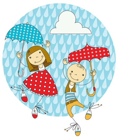 two children hiding from the rain under umbrellas