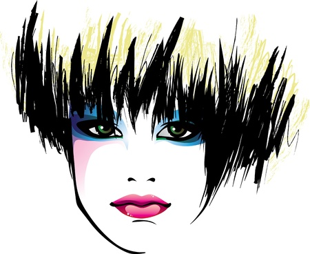 portrait of a pretty girl with a stylish haircut Vector