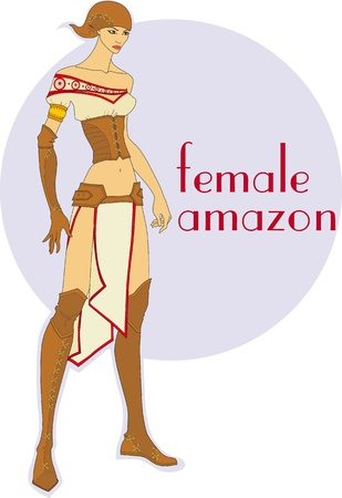 attractive girl in the Amazon historic clothing Vector